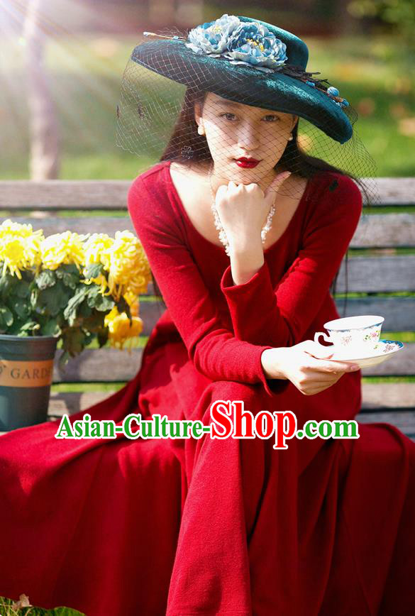 Traditional Classic Women Clothing, Traditional Classic Red Woolen Evening Dress Restoring Woolen Garment Skirt Braces Skirt, Long Skirt
