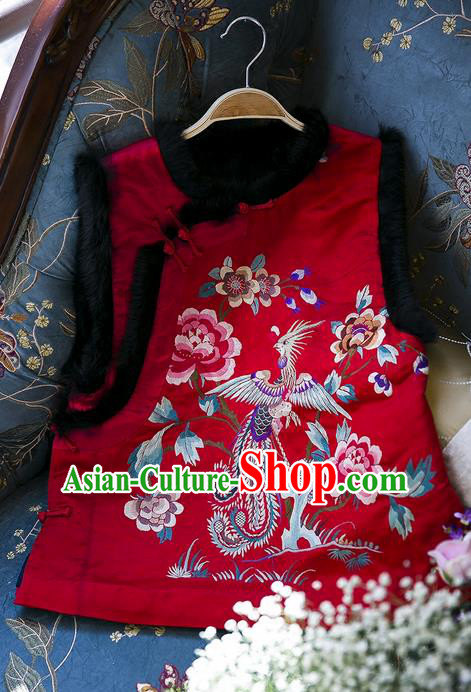 Traditional Classic Women Clothing, Traditional Classic Chinese Silk Red Satin Embroidered Rabbit Fur Vest China Vests