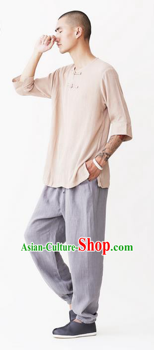 Traditional Chinese Linen Tang Suit Men Costumes, Chinese Ancient Round Neck Silk Floss Short Sleeved T-Shirt Plate Buttons Costume for Men