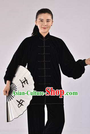 Top Thicken Pleuche Kung Fu Costume Martial Arts Kung Fu Training Uniform Gongfu Shaolin Wushu Clothing Tai Chi Taiji Teacher Suits Uniforms for Women