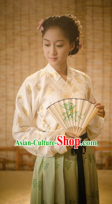 Traditional Chinese Ming Dynasty Young Lady Embroidered Costume, Asian China Ancient Hanfu Clothing for Women