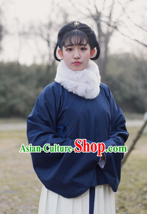 Traditional Chinese Ming Dynasty Young Lady Embroidered Costume Navy Cotton-Padded Jacket, Asian China Ancient Hanfu Blouse for Women