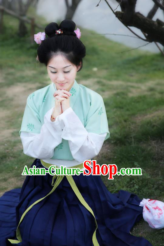 Traditional Chinese Tang Dynasty Young Lady Embroidered Costume, Asian China Ancient Hanfu Princess Dress Clothing