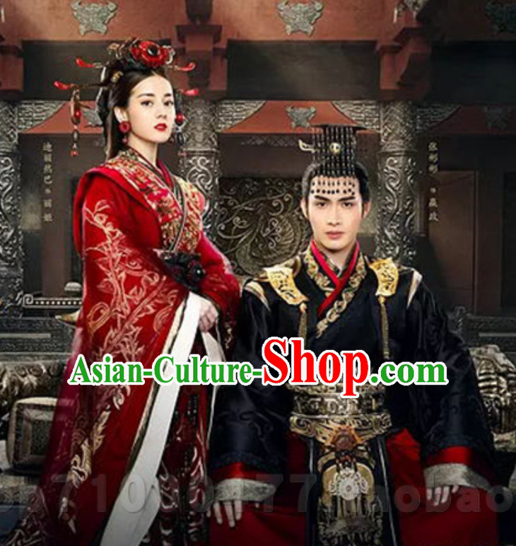 Traditional Ancient Chinese Imperial Lady Wedding Dresses with Long Trail