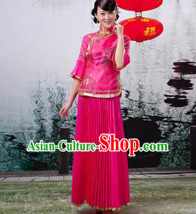 Traditional Ancient Chinese Manchu Nobility Lady Rosy Xiuhe Suit Costume, Asian Chinese Qing Dynasty Embroidered Dress Clothing for Women