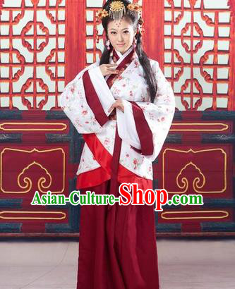 Traditional Ancient Chinese Palace Lady Imperial Consort Costume, Asian Chinese Han Dynasty Fairy Hanfu Clothing for Women