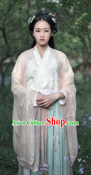 Traditional Chinese Ancient Jin Dynasties Young Lady Cape Costume, Asian China Palace Princess Wide Sleeve Embroidered Cardigan for Women