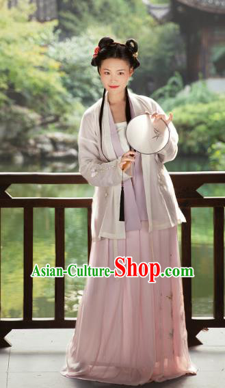 Traditional Chinese Ancient Song Dynasties Princess Costume, Asian China Palace Lady Embroidered Clothing Complete Set