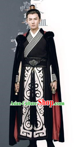 Traditional Chinese Qin Dynasty Prince Embroidered Costume, Asian China Ancient Swordsman Clothing for Men