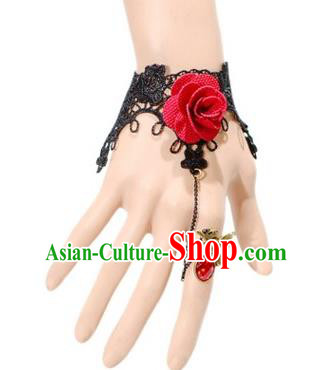 Handmade Exaggerate Fancy Ball Accessories Black Lace Bracelets, Halloween Ceremonial Occasions Vintage Red Rose Chain Bracelet