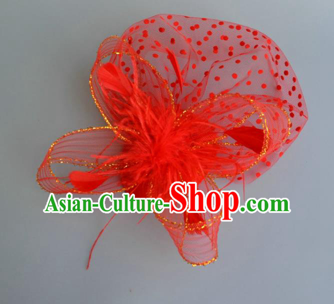 Handmade Baroque Wedding Hair Accessories Red Veil Feather Headwear, Bride Ceremonial Occasions Vintage Top Hat for Women
