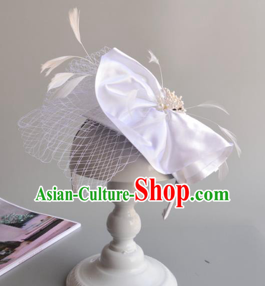 Handmade Baroque Hair Accessories White Feather Hair Clasp, Bride Ceremonial Occasions Headwear for Women