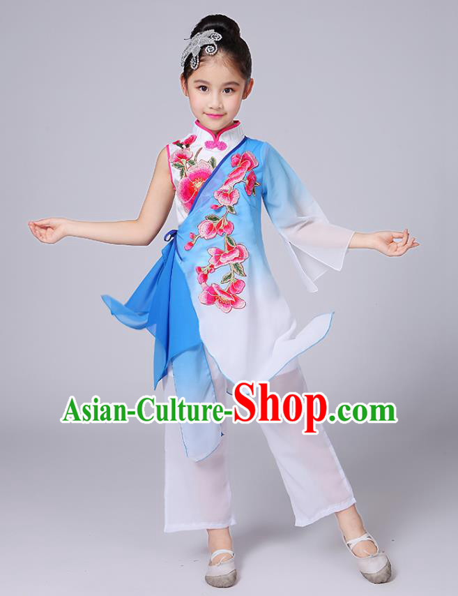 Traditional Chinese Classical Yangge Fan Dance Costume, Children Folk Dance Uniform Yangko Blue Embroidery Clothing for Kids