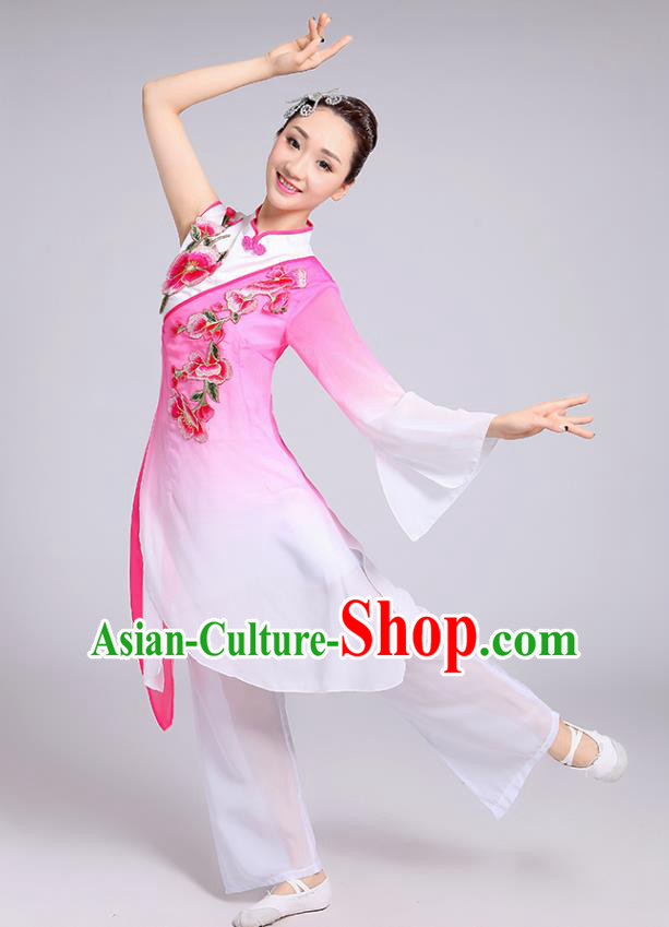 Traditional Chinese Classical Yangge Fan Dance Embroidered Costume, Folk Dance Uniform Classical Dance Pink Clothing for Women