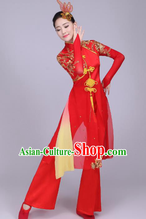 Traditional Chinese Yangge Fan Dance Embroidered Costume, Folk Lotus Dance Uniform Classical Dance Red Clothing for Women