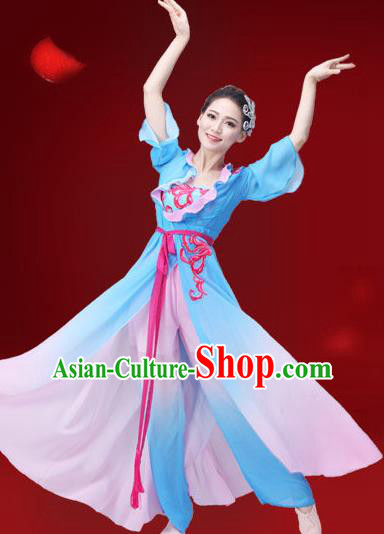 Traditional Chinese Yangge Fan Dance Embroidered Costume, Folk Dance Uniform Classical Dance Blue Dress Clothing for Women