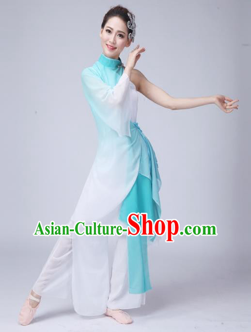 Traditional Chinese Yangge Fan Dance Costume, Folk Dance Uniform Classical Dance Green Dress Clothing for Women