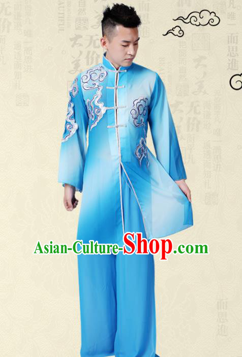 Traditional Chinese Classical Yangge Fan Dance Costume, Folk Dance Uniform Drum Dance Blue Clothing for Men