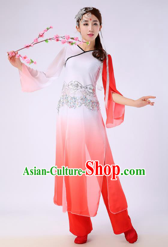 Traditional Chinese Yangge Fan Dance Embroidered Costume, Folk Dance Orange Uniform Classical Dance Clothing for Women