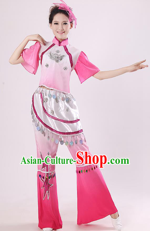 Traditional Chinese Yangge Fan Dance Mandarin Sleeve Costume, Folk Umbrella Dance Pink Uniform Classical Dance Clothing for Women