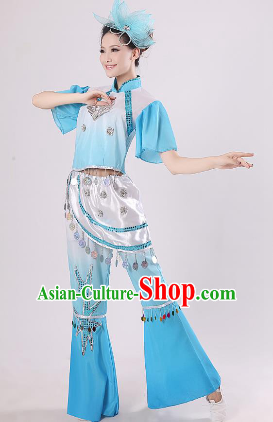Traditional Chinese Yangge Fan Dance Mandarin Sleeve Costume, Folk Umbrella Dance Blue Uniform Classical Dance Clothing for Women