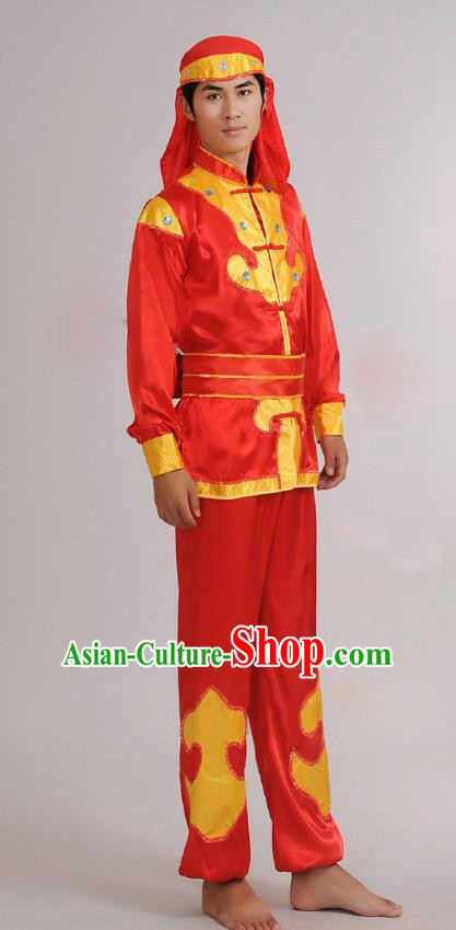 Traditional Chinese Classical Yangge Dance Embroidered Costume, Folk Lion Dance Uniform Drum Dance Red Clothing for Men