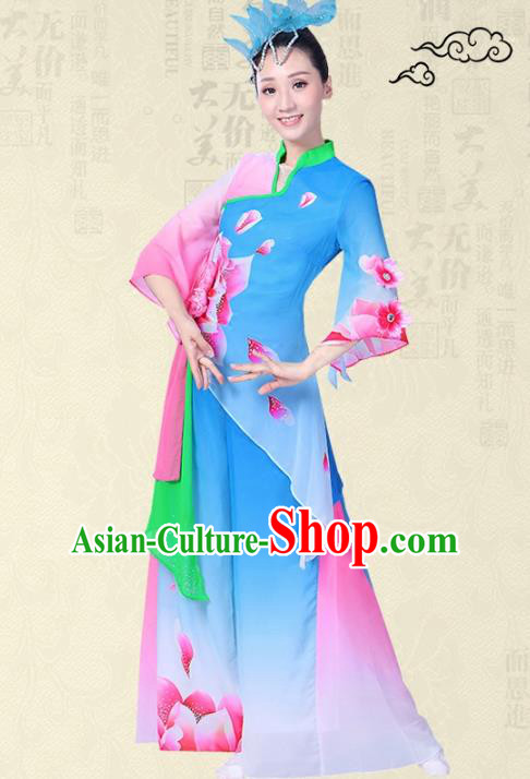 Traditional Chinese Yangge Fan Dance Ink Painting Costume, Folk Umbrella Dance Uniform Classical Dance Blue Clothing for Women