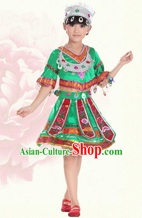 Traditional Chinese Miao Nationality Dance Costume, Hmong Children Folk Dance Ethnic Green Pleated Skirt Embroidery Clothing for Kids