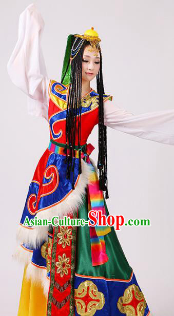Traditional Chinese Zang Nationality Dance Water Sleeve Costume, China Tibetan Minority Embroidery Dress Clothing for Women
