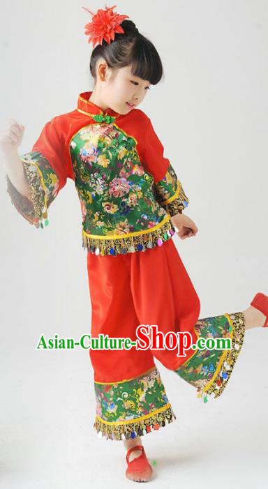 Traditional Chinese Classical Yangge Dance Embroidered Costume, Folk Dance Uniform Drum Dance Red Clothing for Kids
