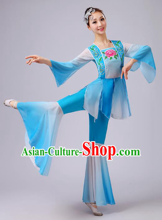 Traditional Chinese Yangge Dance Blue Costume, Folk Lotus Dance Uniform Classical Umbrella Dance Embroidery Clothing for Women