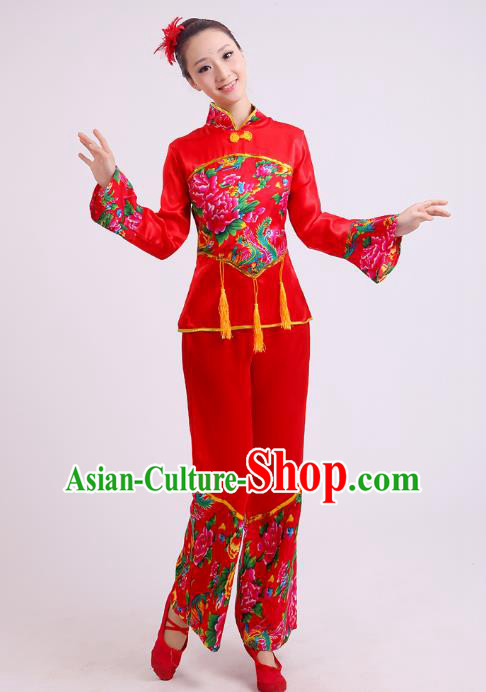 Traditional Chinese Yangge Dance Red Costume, Folk Waist Drum Dance Uniform Classical Dance Embroidery Clothing for Women