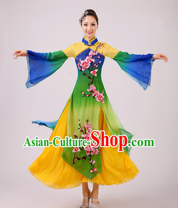 Traditional Chinese Umbrella Dance Green Embroidered Peach Blossom Costume, Folk Dance Uniform Classical Dance Dress Clothing for Women