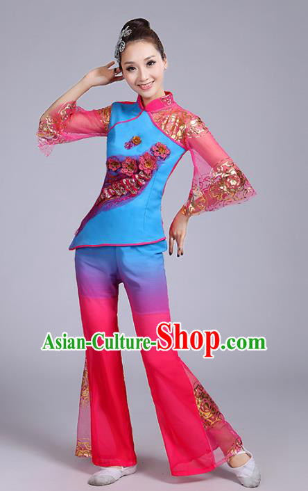 Traditional Chinese Classical Yanko Dance Embroidered Peacock Blue Costume, Folk Yangge Dance Uniform Drum Dance Clothing for Women