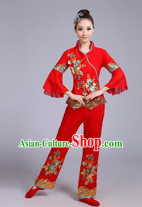 Traditional Chinese Classical Yanko Dance Embroidered Peony Red Costume, Folk Yangge Dance Uniform Drum Dance Clothing for Women