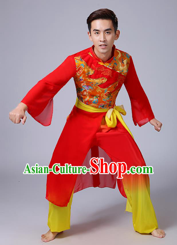 Traditional Chinese Classical Yanko Dance Red Costume, Folk Yangge Fan Dance Uniform Waist Drum Dance Clothing for Men