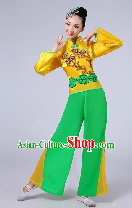 Traditional Chinese Classical Yanko Dance Costume, Folk Yangge Fan Dance Uniform Waist Drum Dance Clothing for Women