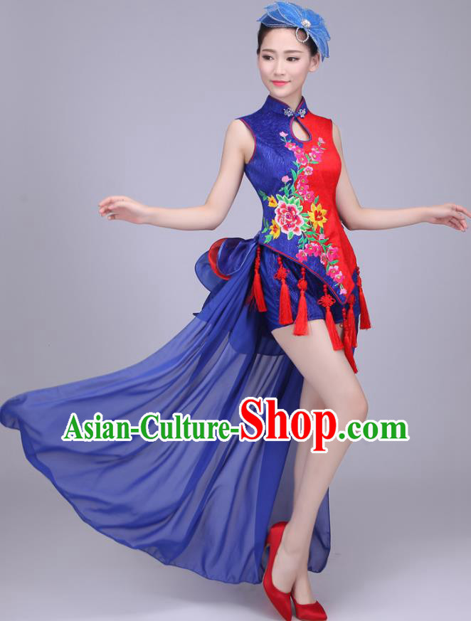 Traditional Chinese Yangge Dance Embroidered Peony Costume, Folk Fan Dance Tassel Uniform Classical Drum Dance Blue Clothing for Women