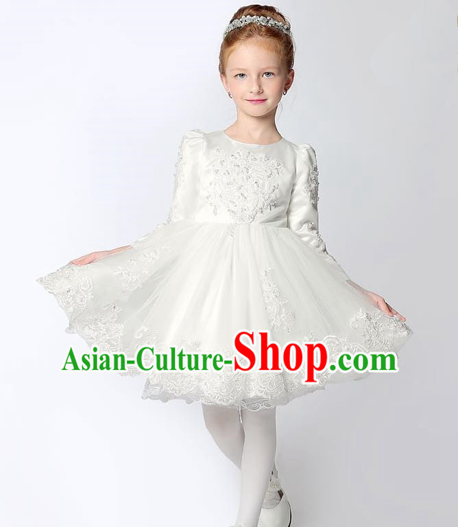 Children Modern Dance Costume Embroidery White Short Bubble Dress, Ceremonial Occasions Performance Princess Veil Full Dress for Girls