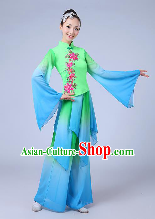 Traditional Chinese Yangge Dance Embroidered Green Costume, Folk Fan Dance Uniform Classical Drum Dance Clothing for Women