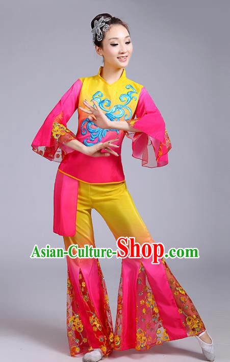 Traditional Chinese Classical Yanko Dance Embroidered Pink Costume, Folk Yangge Dance Mandarin Sleeve Uniform Drum Dance Clothing for Women