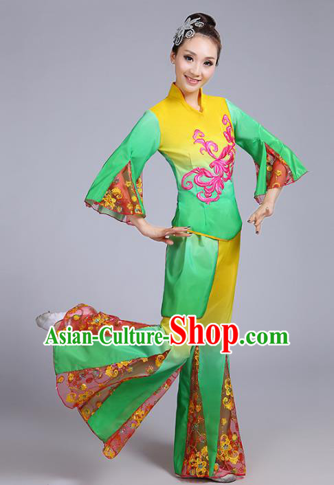 Traditional Chinese Classical Yanko Dance Embroidered Green Costume, Folk Yangge Dance Mandarin Sleeve Uniform Drum Dance Clothing for Women