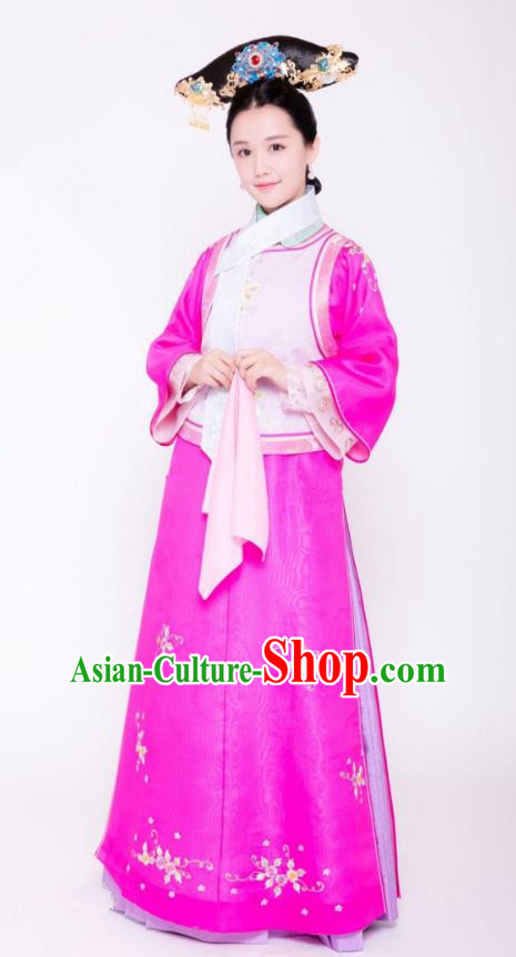 Traditional Chinese Ancient Palace Lady Costume and Handmade Headpiece Complete Set, Asian China Qing Dynasty Manchu Princess Embroidered Clothing