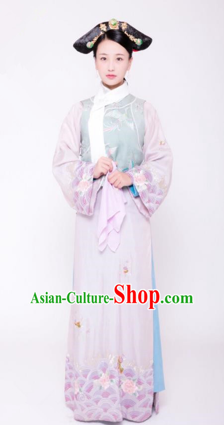 Traditional Chinese Ancient Palace Lady Costume, Qing Dynasty Manchu Court Maid Embroidered Clothing and Handmade Headpiece Complete Set
