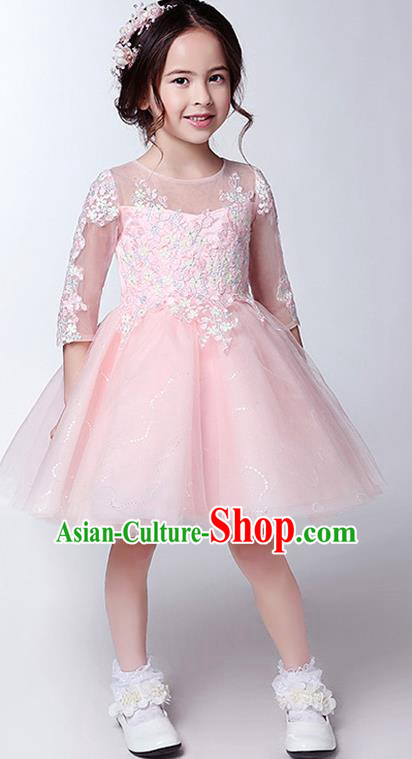 Children Christmas Model Show Dance Costume Pink Veil Bubble Dress, Ceremonial Occasions Catwalks Princess Full Dress for Girls