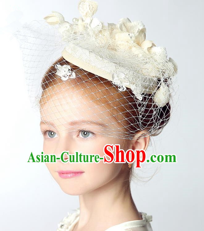 Handmade Children Hair Accessories White Lace Top Hat, Princess Halloween Model Show Headwear for Kids