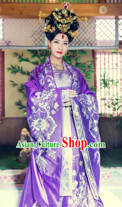 Asian Chinese Acient Southern Liang Dynasty Imperial Empress Embroidered Costume, Traditional China Phoenix Warriors Queen Clothing