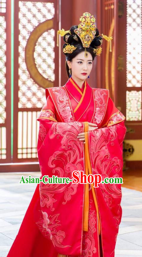 Traditional Chinese Acient Southern Liang Dynasty Imperial Empress Embroidered Wedding Costume and Handmade Headpiece Complete Set