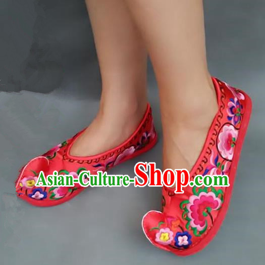Asian Chinese Shoes Wedding Shoes Handmade Red Embroidered Shoes, Traditional China Princess Shoes Hanfu Become Warped Head Shoe for Women