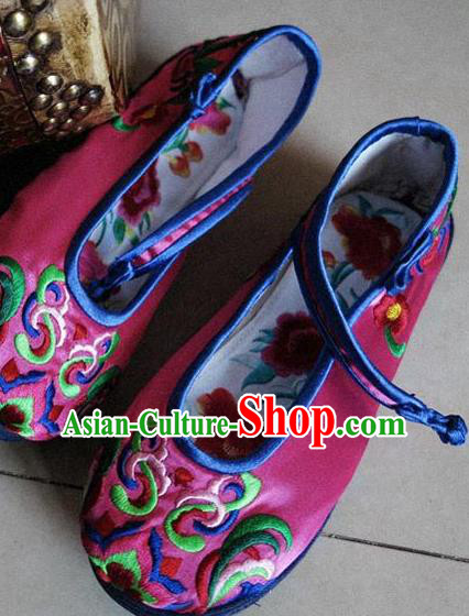 Asian Chinese Martial Arts Shoes Wedding Shoes Handmade Rosy Embroidered Shoes, Traditional China Princess Shoes Hanfu Shoe for Women